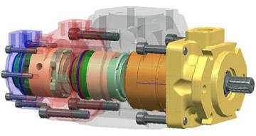 Denison Hydraulics Triple Vane Pump CAD Drawing